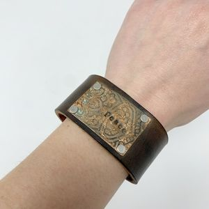 "Artisan Made Leather & Metal ""Peace"" Cuff {FS}"